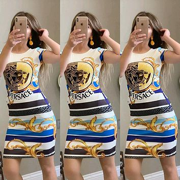 VERSACE Summer Hot Sale Women Sexy Print Short Sleeve Dress