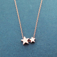 Double, Star, Gold, Silver, Rose gold, Necklace, Birthday, Best friends, Sister, Gift, Jewelry