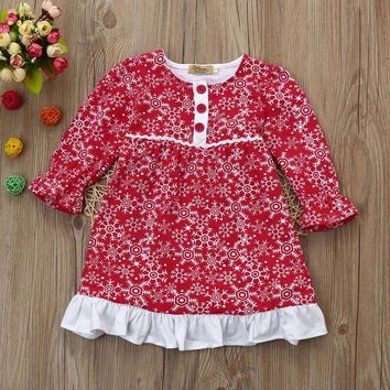 Toddler Kids Infant Baby Girls Santa New Year Snowflake Print Princess Christmas Outfit Clothes Dress winter long sleeve costume