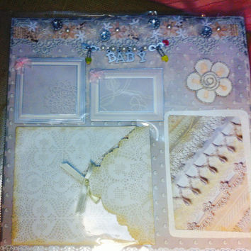 Premade baby scrapbook page, Vintage inspired  lace theme, pockets for keepsakes, layered room for photos
