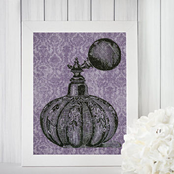 Antique Purple Damask Perfume Bottle Digital Wall Art -- Vintage Feminine Chic Bedroom Bathroom 8 x 10 Printable Instant Download