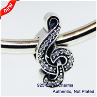Fits for Pandora Bracelets Clef Silver Charm with Cz New Original Authentic 925 Sterling Silver Beads DIY 08063