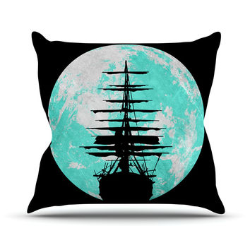 "Micah Sager ""Voyage"" Aqua Black Outdoor Throw Pillow"