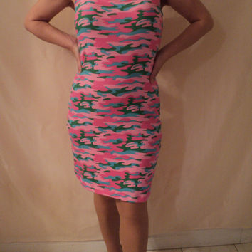 MJCREATION dress can fit medium -large pink camo stretch knit ready for shipping