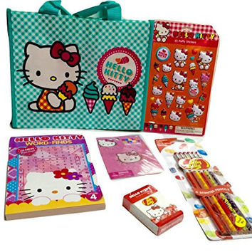 Travel Games and Activities! Hello Kitty Jelly Belly Mini Box of Gourmet Jelly Beans; Word Search, Body Jewelry, 23 Puffy Stickers, Bag, 6-pack Jelly Belly Scented Pencils! 6-pc