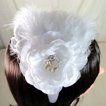 Bridal Silk Feather Headband White Vintage Style Satin Head Band Fascinator with Pearl & Rhinestones 1920's Gatsby Old Hollywood Wedding