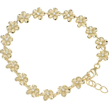 """YELLOW GOLD PLATED SILVER HAWAIIAN FANCY PLUMERIA FLOWER ANKLET CZ 8MM 9.5""""+"""
