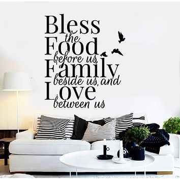 Vinyl Wall Decal Bless Food Inspiring Quote Words Kitchen Dining Room Decor Stickers Mural (g1774)