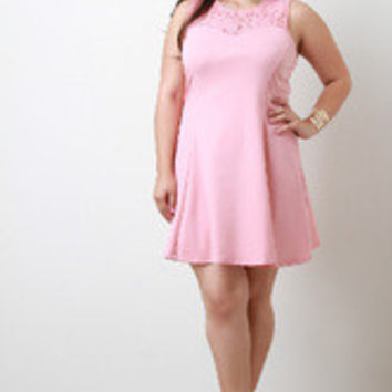 Women's Pink Lace Babydoll Dress in Plus Sizes