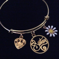 Sister Gold Expandable Charm Bracelet Adjustable Wire Bangle Gift Trendy