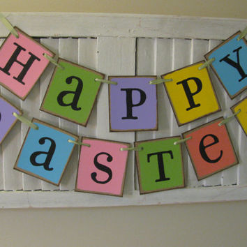 Happy Easter Banner Pastel Colored Easter Garland Primitive Folk Art Bunting Great Photo Prop