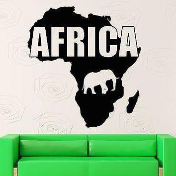 Wall Sticker Vinyl Decal Map Africa Animals Continent Geography Decor Unique Gift (ig1212)