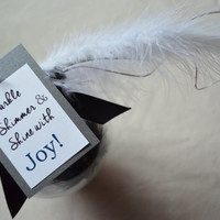 Sparkle, shimmer and shine with Joy feather glass christmas ornaments feathers black and white