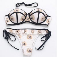 Fashion Dog Pattern Print Frills Stitching Bandage Bikini Set Swimsuit Swimwear