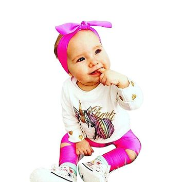 Infant Baby Unicorn Print Clothing Sets Girls Long Sleeve T-shirt Tops+Broken Hole Pants+Headbands Baby Kids Outfits Set Clothes