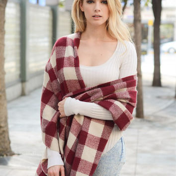 Buffalo Check Tassel Scarf-Red