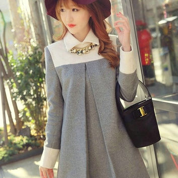 Grey Woolen Maternity/Maternity Dresses Women¡¯s Winter Dress = 1946906756