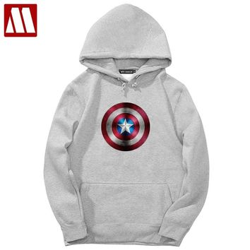 Man Fleece Jacket Velvet Men's Hoodies Captain America The First Avenger Movie Print Hooded Coat Custom Vesture Men Sweatshirts
