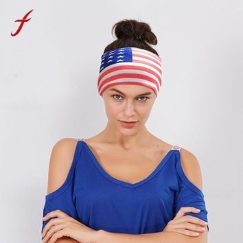 2017 New Arrive Unisex Men American Flag stripe Headband Head Wrap Hair Band