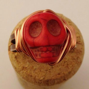 Red Skull Ring - Red and Copper Ring - Adjustable Ring - Halloween Ring - Horror Jewelry - Day of the Dead - Howlite Skull Ring