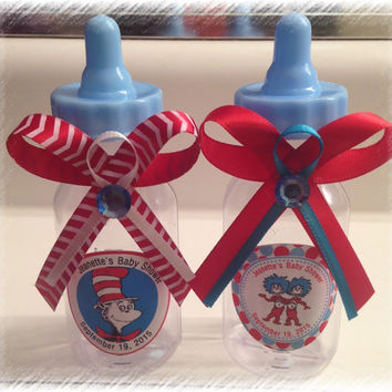 "24 Personalized Dr. Seuss Blue Baby Shower Fillable Bottle Favors ""Thing 1- Thing 2"" or ""Cat in the Hat"" theme"