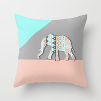 Elephant  Throw Pillow by Sunkissed Laughter