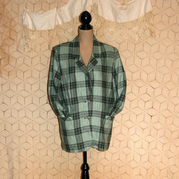 Vintage 80s Blazer Jacket Plaid Flannel Grunge Jacket Plaid Jacket Mint Green Gray Hipster Clothing Club Kid Oversize Large Womens Clothing