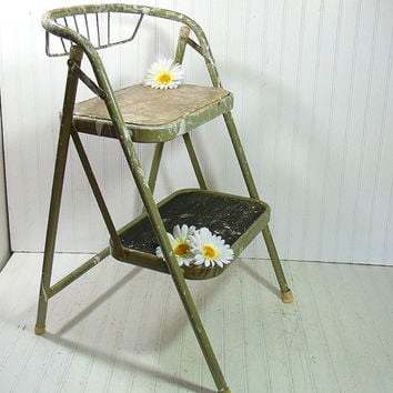 Vintage Sage Enamel Metal Folding Step Stool - Retro Avocado Green Heavy Duty Painters Ladder - : vintage metal step stool chair - islam-shia.org