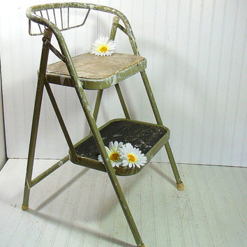 Vintage Sage Enamel Metal Folding Step Stool - Retro Avocado Green Heavy Duty Painters Ladder - Chippy Paint Portable Industrial Work Stand