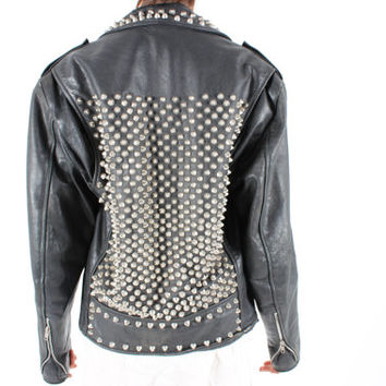 DROP DEAD AMAZING 80s Studded Leather Motorcycle Punk Biker Jacket