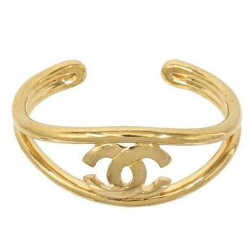 Chanel Gold CC Logo Open Adjustable Evening Bangle Cuff Bracelet in Box