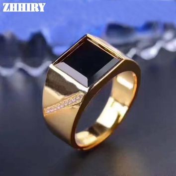 Men Rings Genuine Natural Sapphire Gem Man Real 925 Sterling Silver Precious Gemstone Fine Jewelry