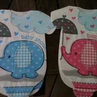 Blue or pink elephants.  30 Baby shower Onesuit napkins or banner decoration.