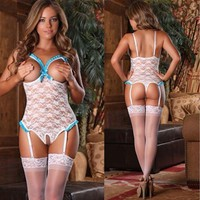 LADIES SEXY LACE LINGERIE BABYDOLL SLEEPWEAR NIGHTWEAR UNDERWEAR + G STRING