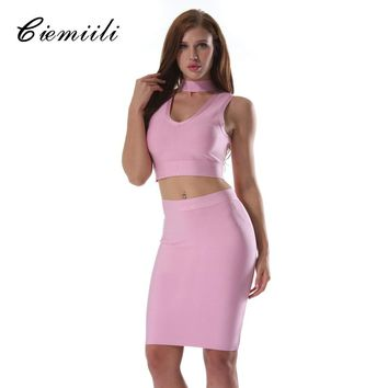 CIEMIILI Sexy Women Summer Dress Club Wear Dress 2 Two Piece Set Pink Black Blue Bodycon V-neck Vestidos Bandage Dresses