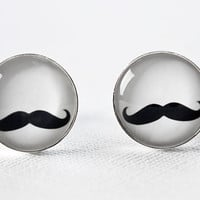 Handlebar Mustache Silver Plated Cufflinks  by MickyChaseJewelry