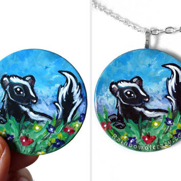 Skunk Necklace, Flower Pendant, Cute Art, Hand Painted Wood Jewelry, Animal Painting, Gift for Her