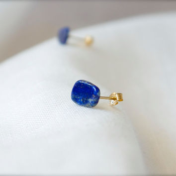 Blue lapis lazuli stud earrings 14k gold fill post Raw stone modern minimalist Bohemian Handmade Gypsy Tribal Beach Ultramarine Cobalt Navy