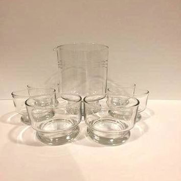 Princess House Etched Cocktail  Pitcher with 6 Glasses