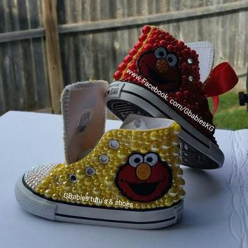 custom ordered Pearl & crystal embellished converse (elmo inspired)