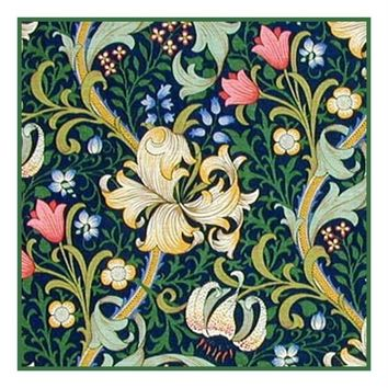 William Morris Golden Lily Navy Design Counted Cross Stitch or Counted Needlepoint Pattern