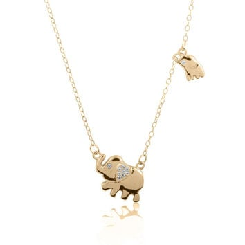 Sterling Silver 14K Gold Plated Mother and Child Elephant CZ Necklace