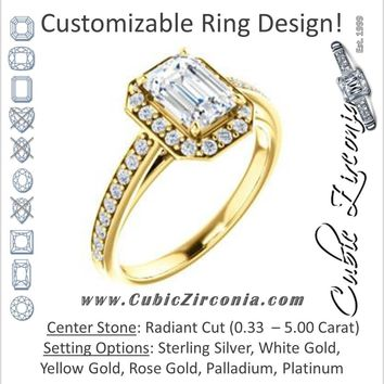 Cubic Zirconia Engagement Ring- The Farrah Michelle (Customizable Radiant Cut with Halo & Sculptural Trellis)
