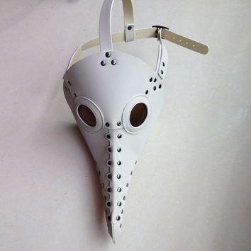 Steampunk Plague Doctor Bird Mask (White)