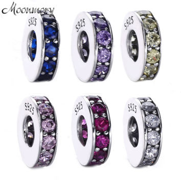 Moonmory 6 Colors 925 Sterling Silver Spacer Eternity Royal Blue Crystal Beads Fits For Pandora Bracelets DIY Jewelry Marking