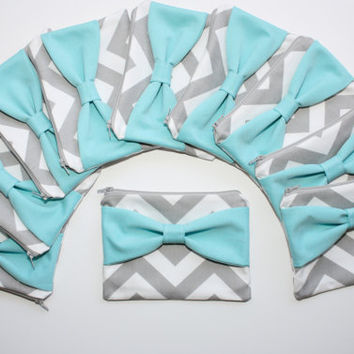Bridesmaid Gift - Set of Ten (10) Cosmetic Cases / Zipper Pouches - Gray Chevron with Tiffany Blue Center Bow