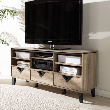 Baxton Studio Wales Modern and Contemporary Light Brown Wood 55-Inch TV Stand Set of 1