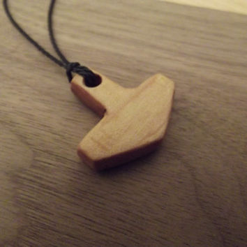 Wooden Pendant - Maple Thor's Hammer Hand Made