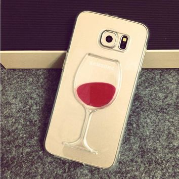 Flowing Liquid Red Wine Glass Cup Lip Capa Case for Samsung Galaxy S7 Edge S7 iPhone 7 7 Plus 6 6S 5S 5