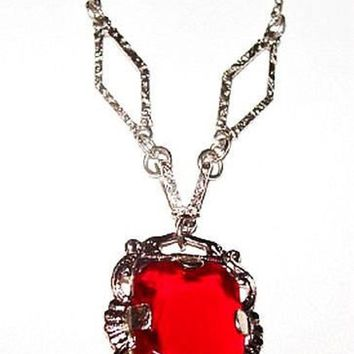 "Art Deco Red Pendant Necklace Sterling Silver Metal Chain Festive 15"" Vintage"
